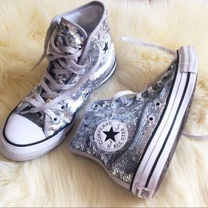 Converse silver sequins high tops size 7